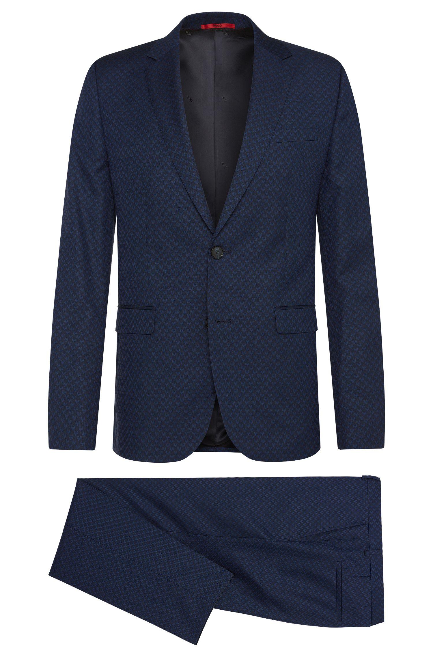Dobby Virgin Wool Cotton Patterned Suit, Slim Fit | Astian/Hets