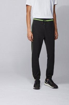 Slim-fit jogging bottoms with contrast trims, Black