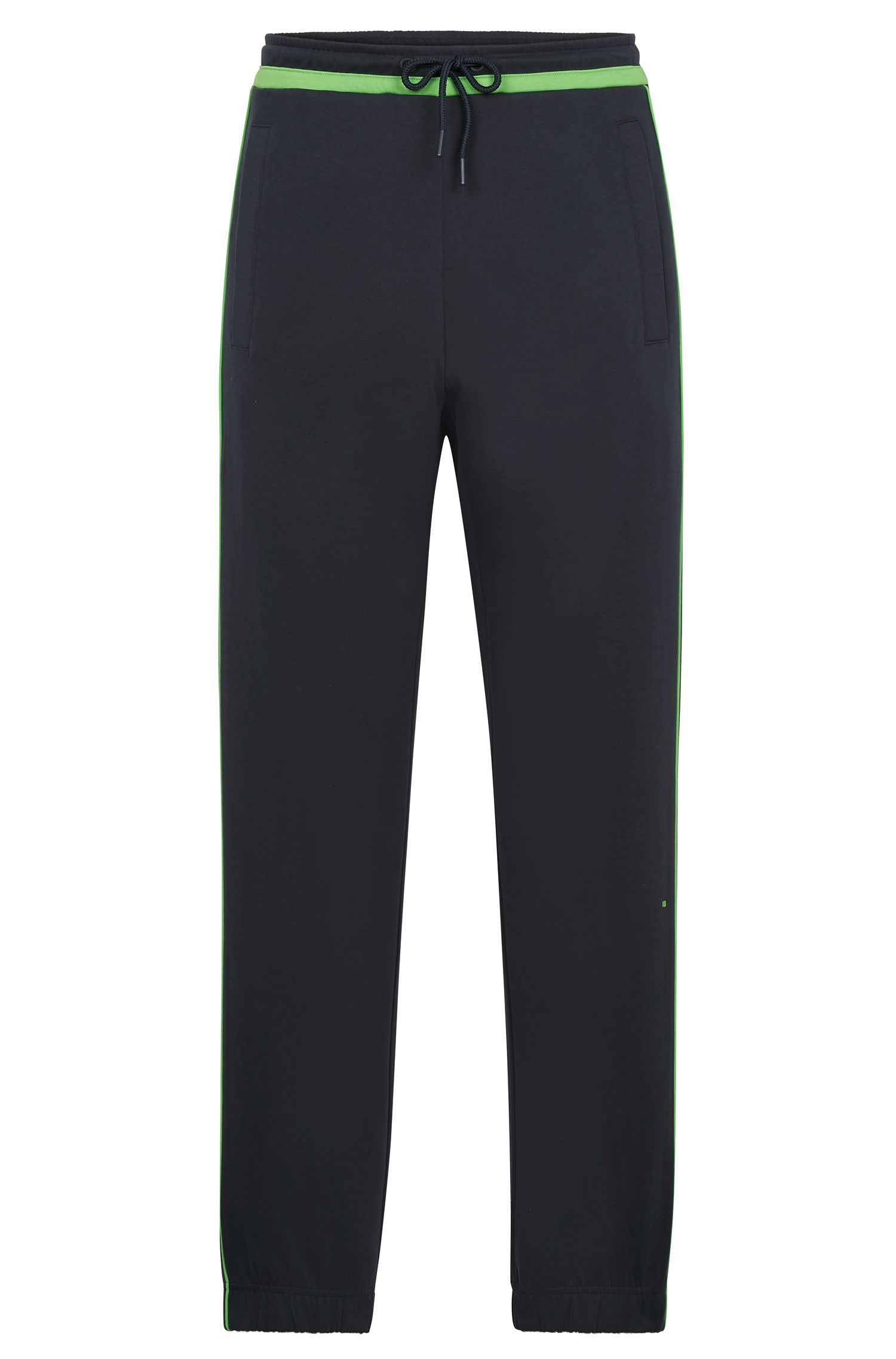 Slim-fit jogging bottoms with contrast trims, Dark Blue