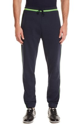 Slim-fit jogging bottoms with contrast trims, Dark Blue