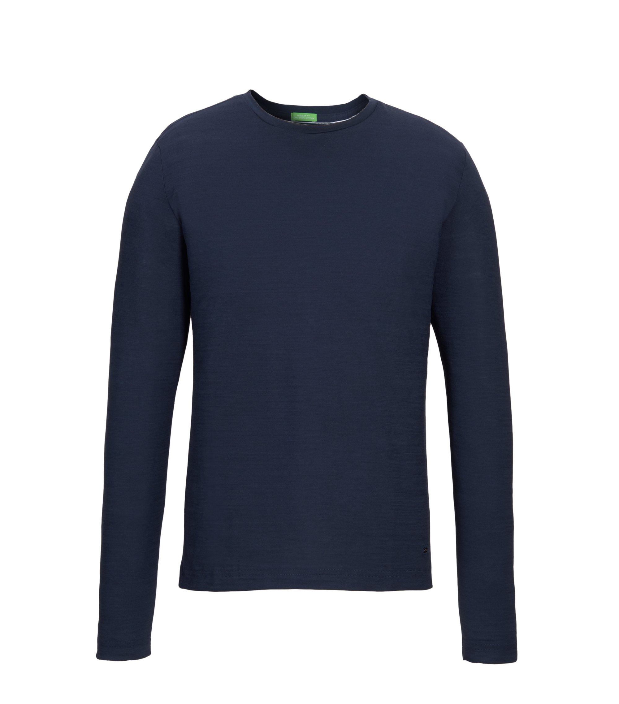 Cotton Long Sleeve T-Shirt | Sessari US, Dark Blue