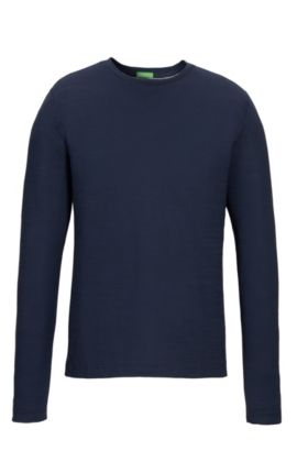 Cotton Long Sleeve T-Shirt | Sessari, Dark Blue