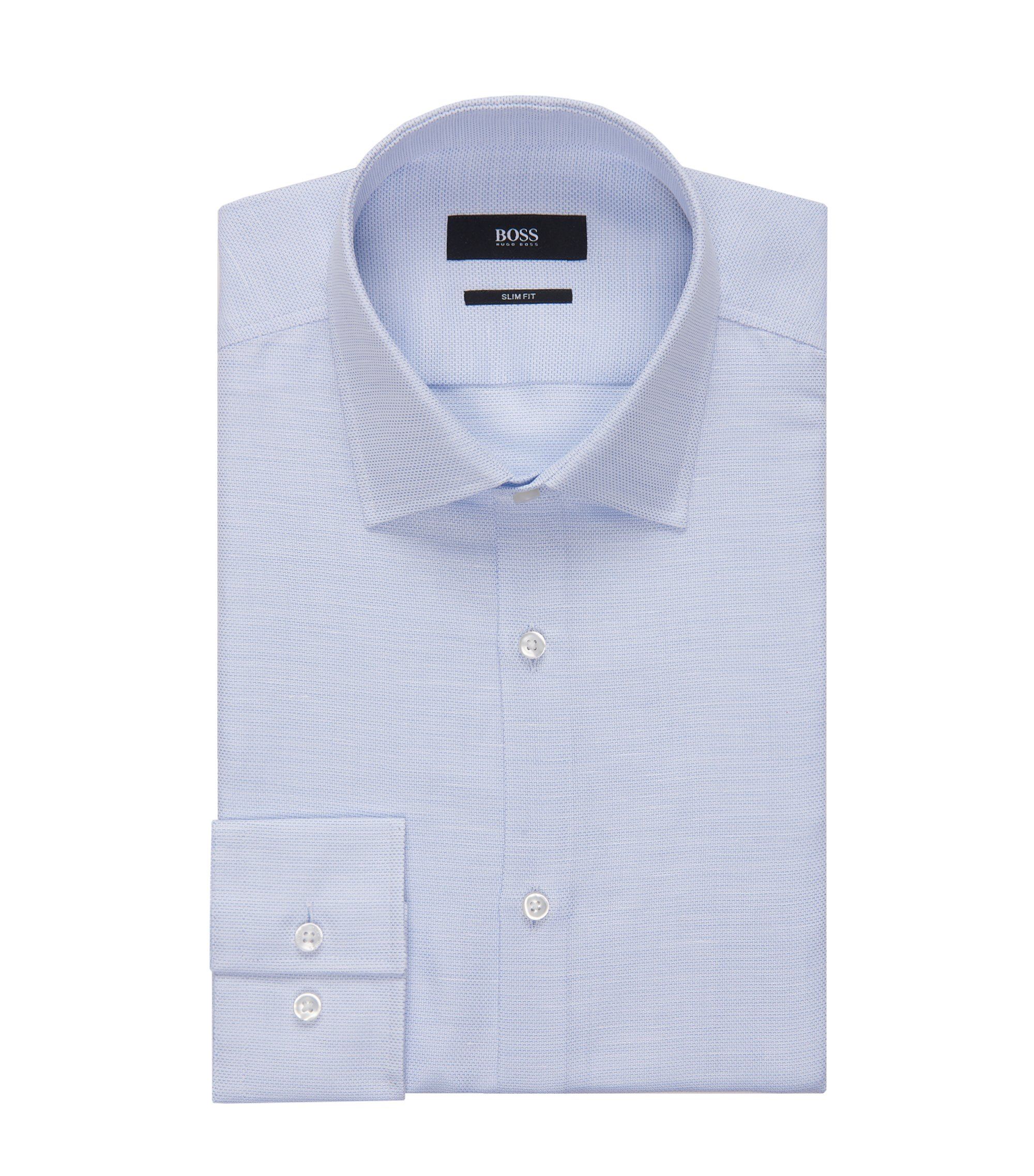 Basketweave Cotton Linen Dress Shirt, Slim Fit | Jenno, Light Blue