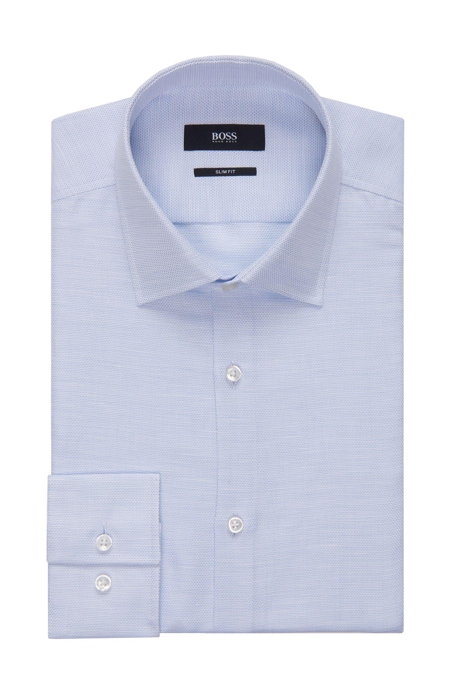Basketweave Cotton-Linen Dress Shirt, Slim Fit | Jenno