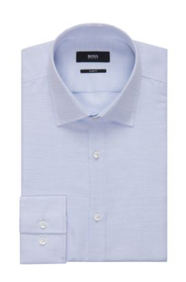 Basketweave Cotton-Linen Dress Shirt, Slim Fit | Jenno, Light Blue