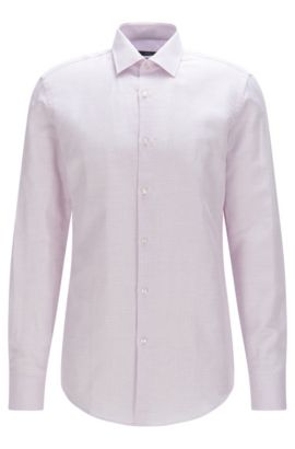 Basketweave Cotton Linen Dress Shirt, Slim Fit | Jenno, Purple