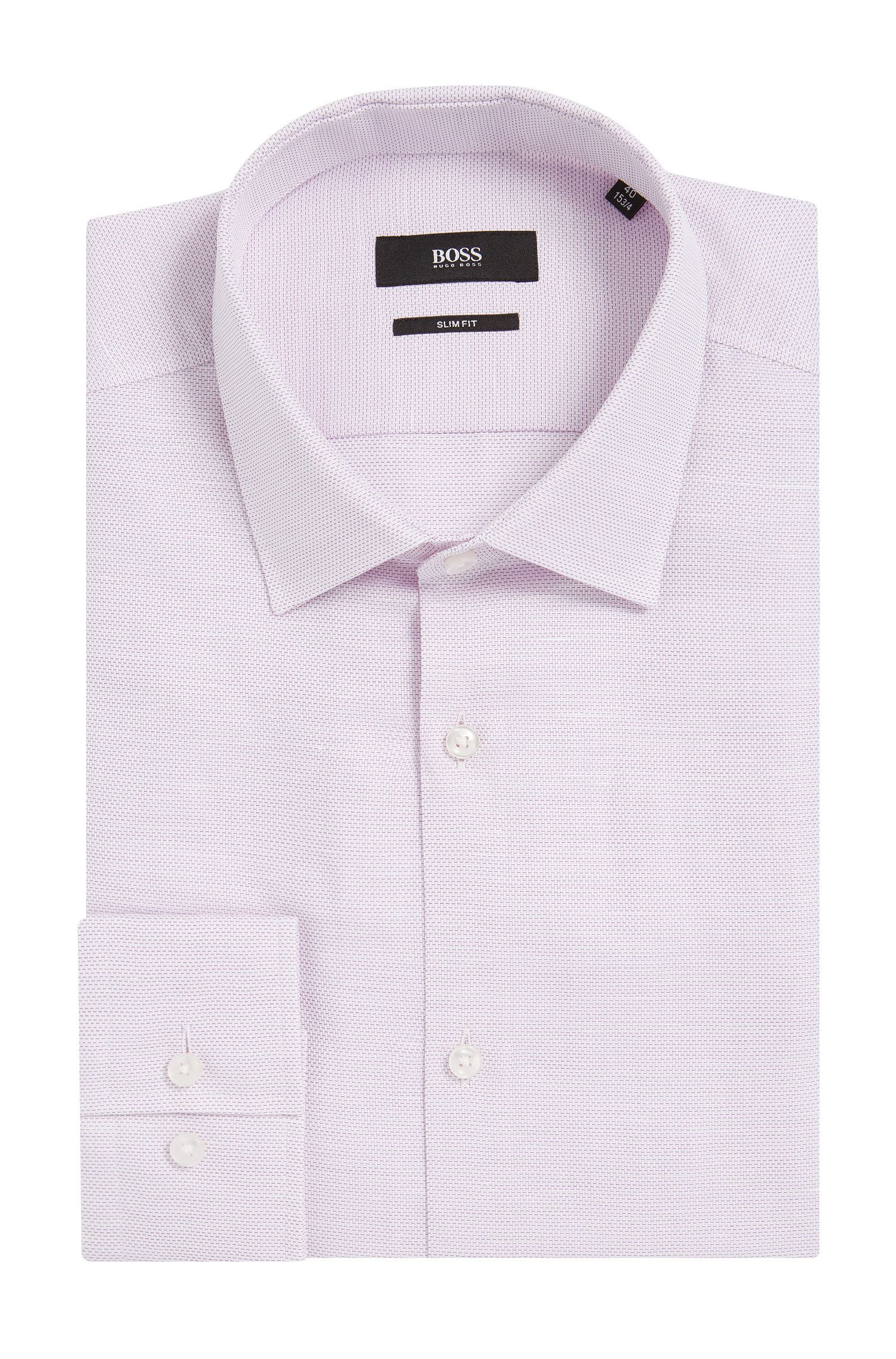 Basketweave Cotton Linen Dress Shirt, Slim Fit | Jenno