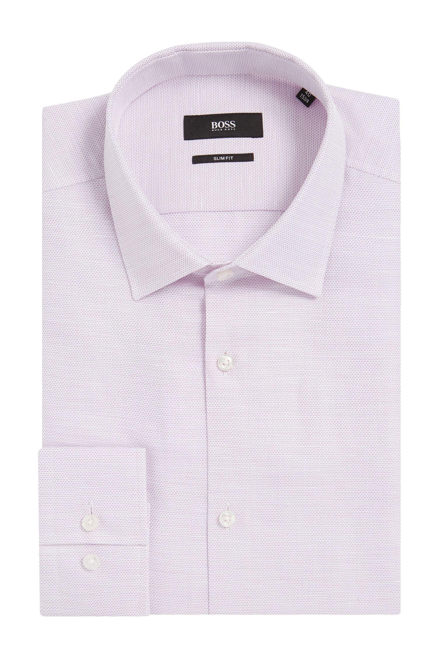 Basketweave Cotton Linen Dress Shirt, Slim Fit | Jenno
