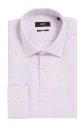 Basketweave Cotton Linen Dress Shirt, Slim Fit | Jenno, Purple