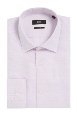 Basketweave Cotton-Linen Dress Shirt, Slim Fit | Jenno, Purple