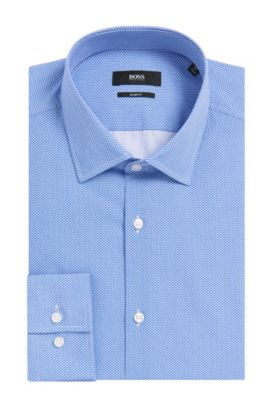 Geometric Italian Cotton Dress Shirt, Slim Fit | Jenno, Blue