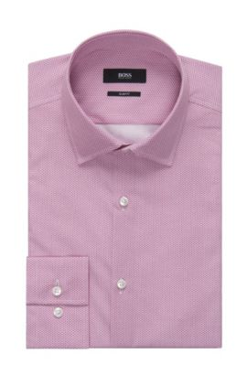 Geometric Italian Cotton Dress Shirt, Slim Fit | Jenno, Pink