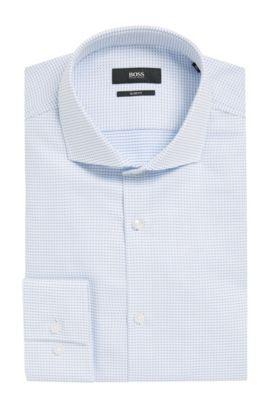 Patterned Cotton Dress Shirt, Slim Fit | Jason, Light Blue