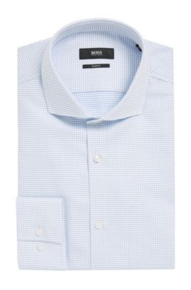 Micro-Square Cotton Dress Shirt, Slim Fit | Jason, Light Blue