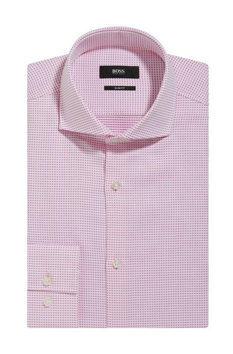 da3bc3ff5 BOSS - Patterned Cotton Dress Shirt, Slim Fit | Jason