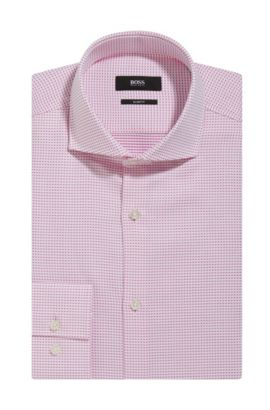 Patterned Cotton Dress Shirt, Slim Fit | Jason, Pink