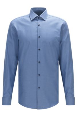 Fresh Active Traveler Cotton Dress Shirt, Slim Fit | Jacques, Open Blue