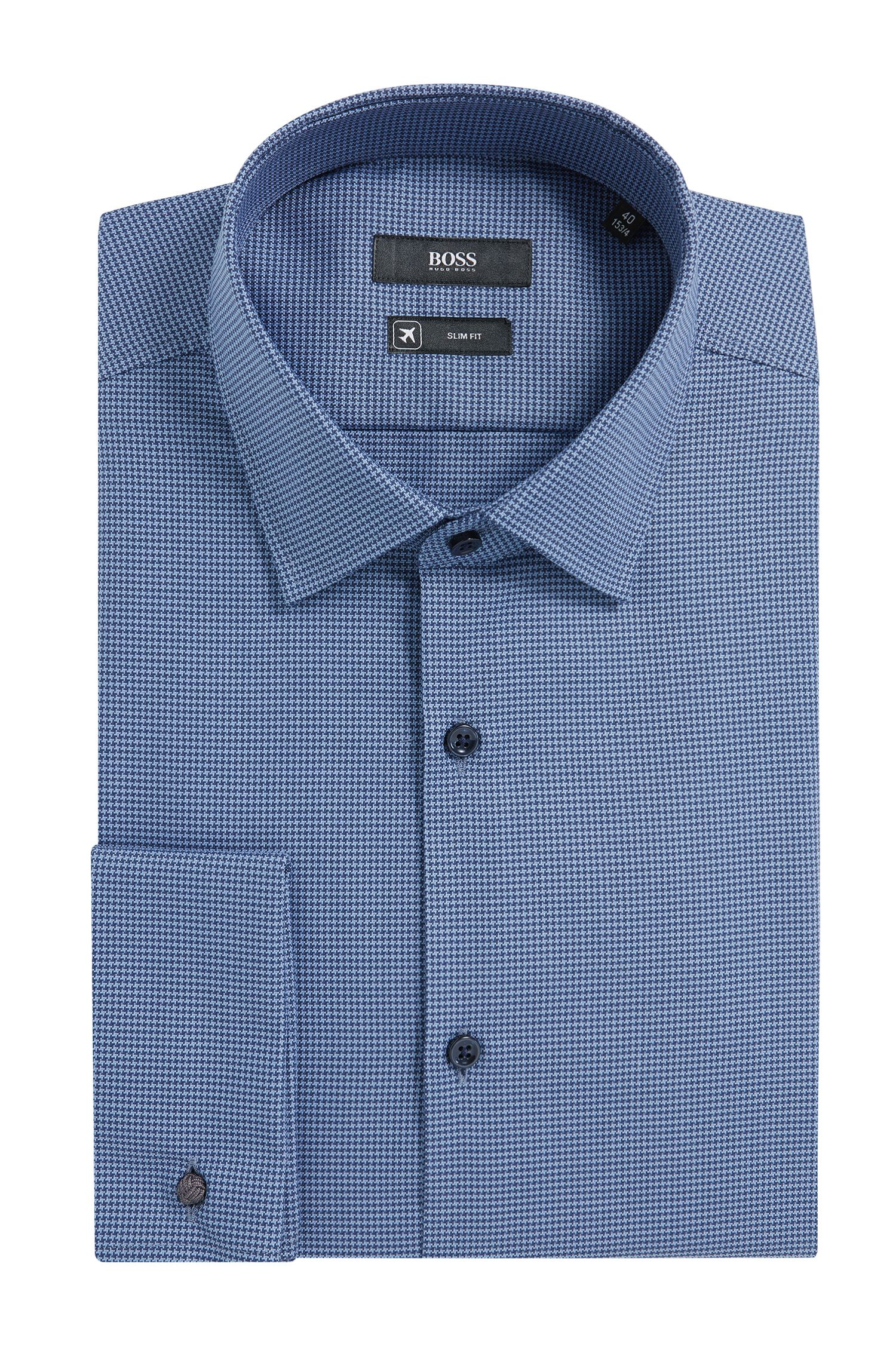 'Jacques' | Slim Fit, Micro-Houndstooth Aloe Vera Cotton Dress Shirt