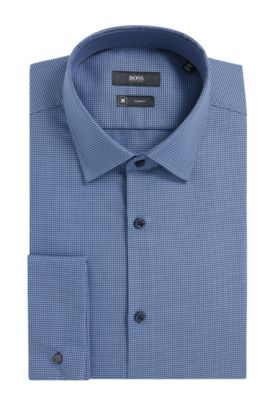 Houndstooth Fresh Active Traveler Cotton Dress Shirt, Slim Fit | Jacques  , Open Blue