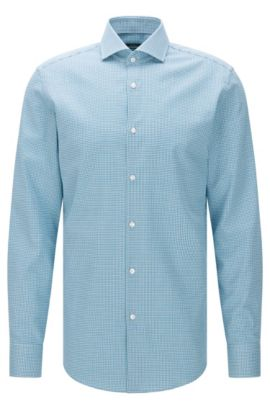 Houndstooth Cotton Dress Shirt, Slim Fit | Jason , Open Green