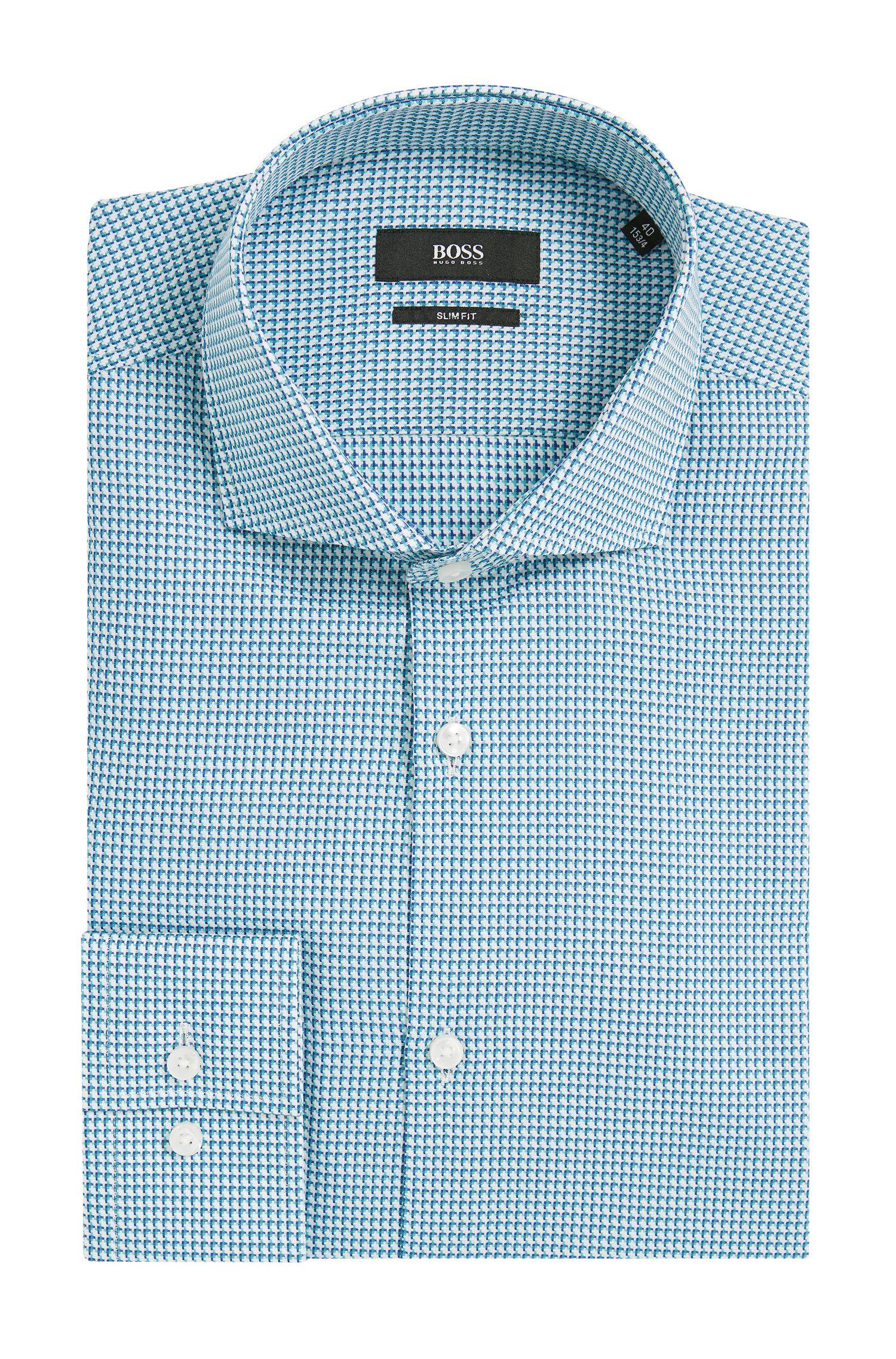 Houndstooth Cotton Dress Shirt, Slim Fit   Jason