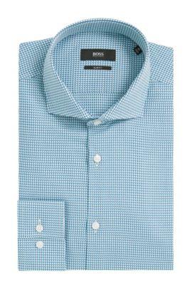 Houndstooth Cotton Dress Shirt, Slim Fit | Jason, Open Green