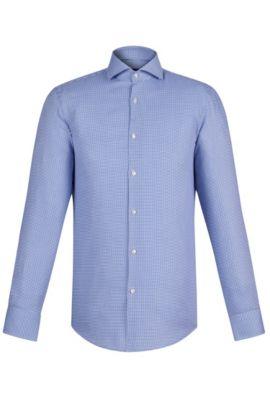 Houndstooth Cotton Dress Shirt, Slim Fit   Jason, Blue