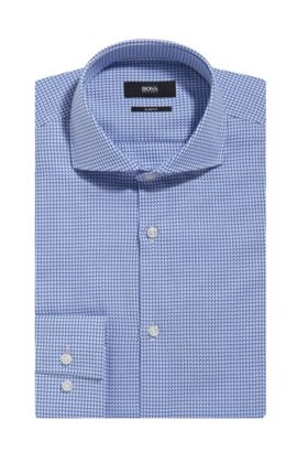 Houndstooth Cotton Dress Shirt, Slim Fit | Jason , Blue