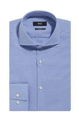 Houndstooth Cotton Dress Shirt, Slim Fit | Jason, Blue