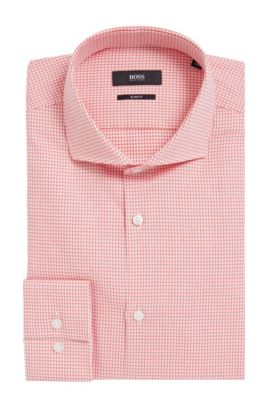 Houndstooth Cotton Dress Shirt, Slim Fit | Jason, Red