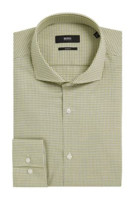 Houndstooth Cotton Dress Shirt, Slim Fit | Jason , Yellow
