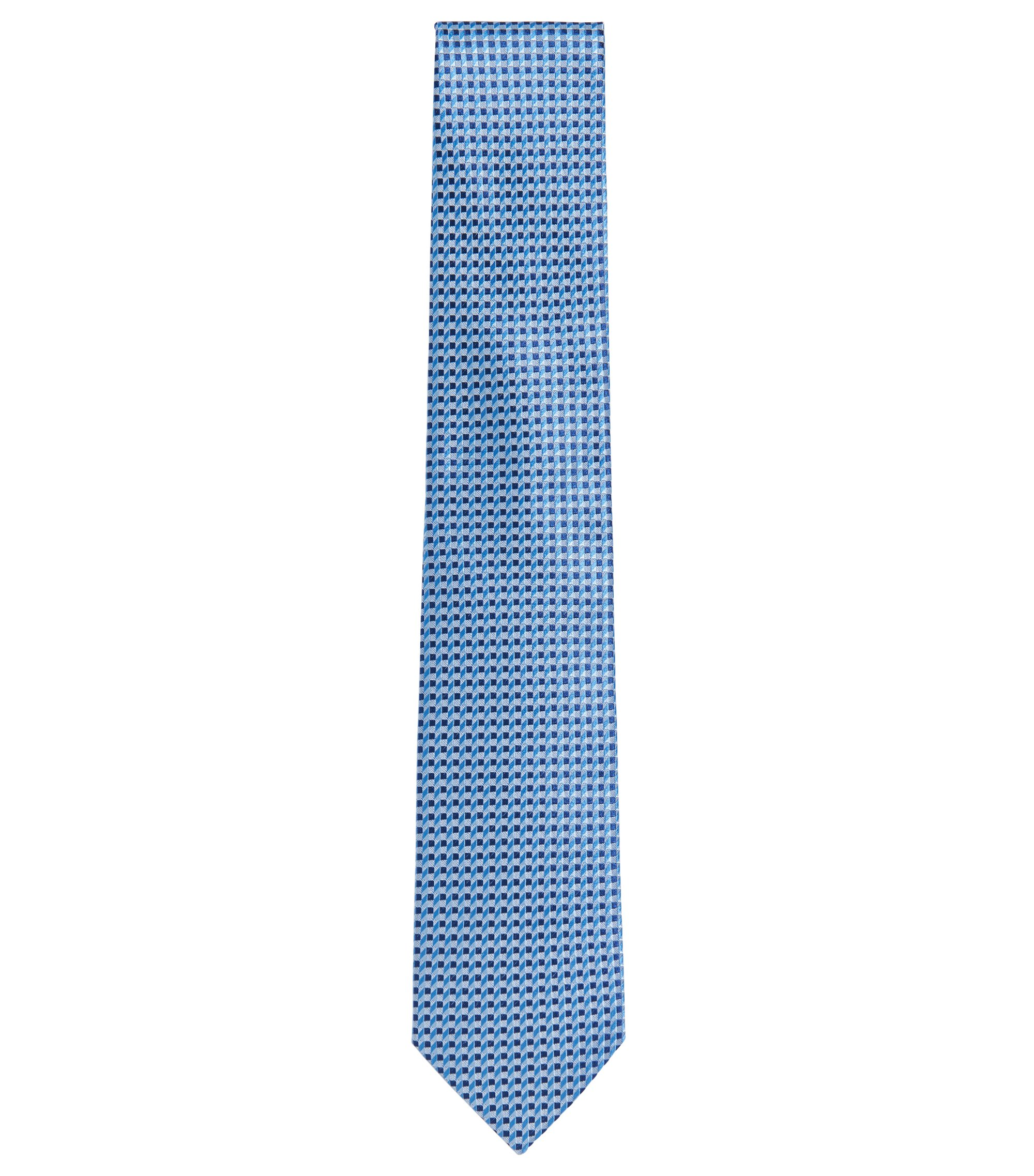 Patterned Italian Silk Tie, Light Blue