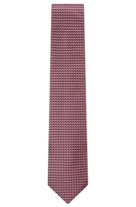 'Tie 7.5 cm' | Regular, Italian Silk Patterned Tie, Light Purple