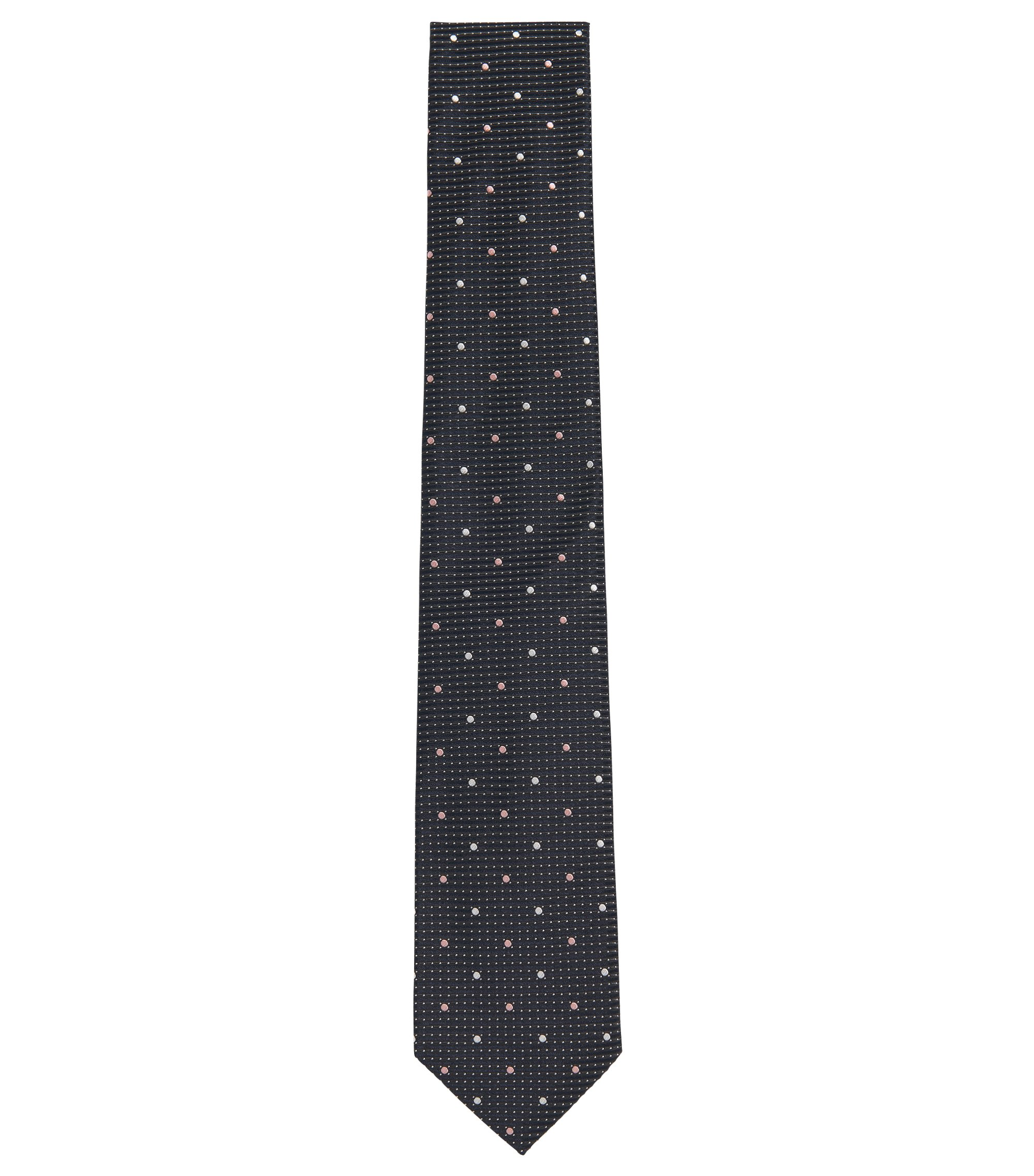 Patterened Italian Silk Tie, Charcoal