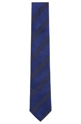 'Tie 7.5 cm' | Regular, Italian Silk Patterned Tie, Blue