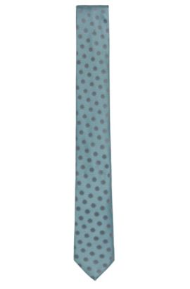 'Tie 6 cm' | Slim, Silk Embroidered Tie, Open Green