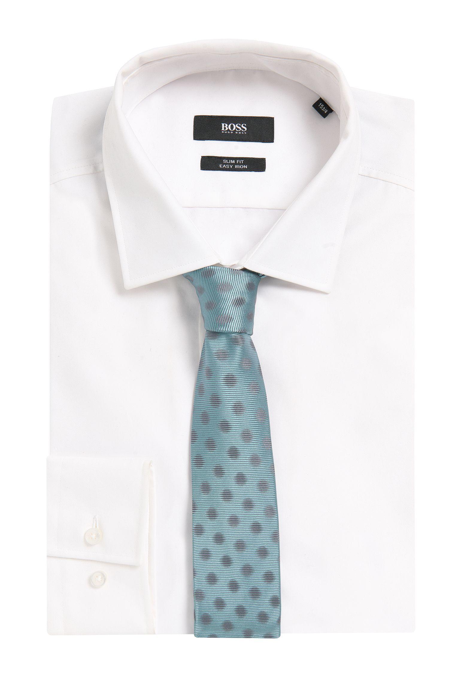 Polka Dots Italian Silk Slim Tie, Open Green