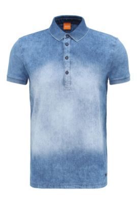 'Pretty' | Relaxed Fit, Cotton Stone Washed Polo Shirt, Dark Blue