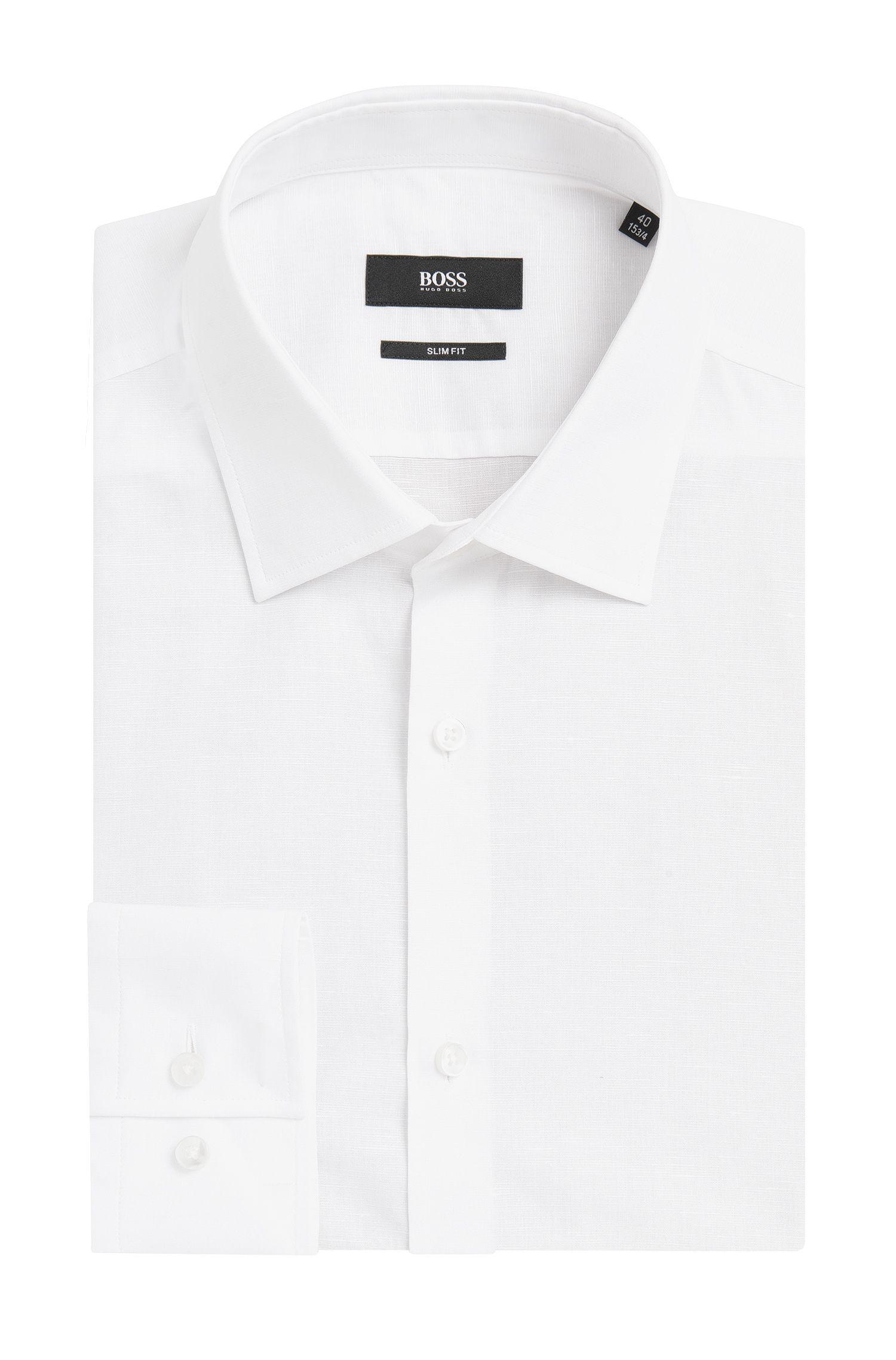 Italian Cotton Linen Dress Shirt, Slim Fit   Jenno