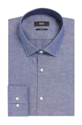 Italian Cotton-Linen Dress Shirt, Slim Fit | Jenno  , Dark Blue