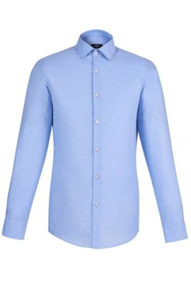 Italian Cotton Linen Dress Shirt, Slim Fit | Jenno  , Light Blue