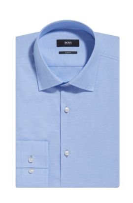 Italian Cotton-Linen Dress Shirt, Slim Fit | Jenno  , Light Blue
