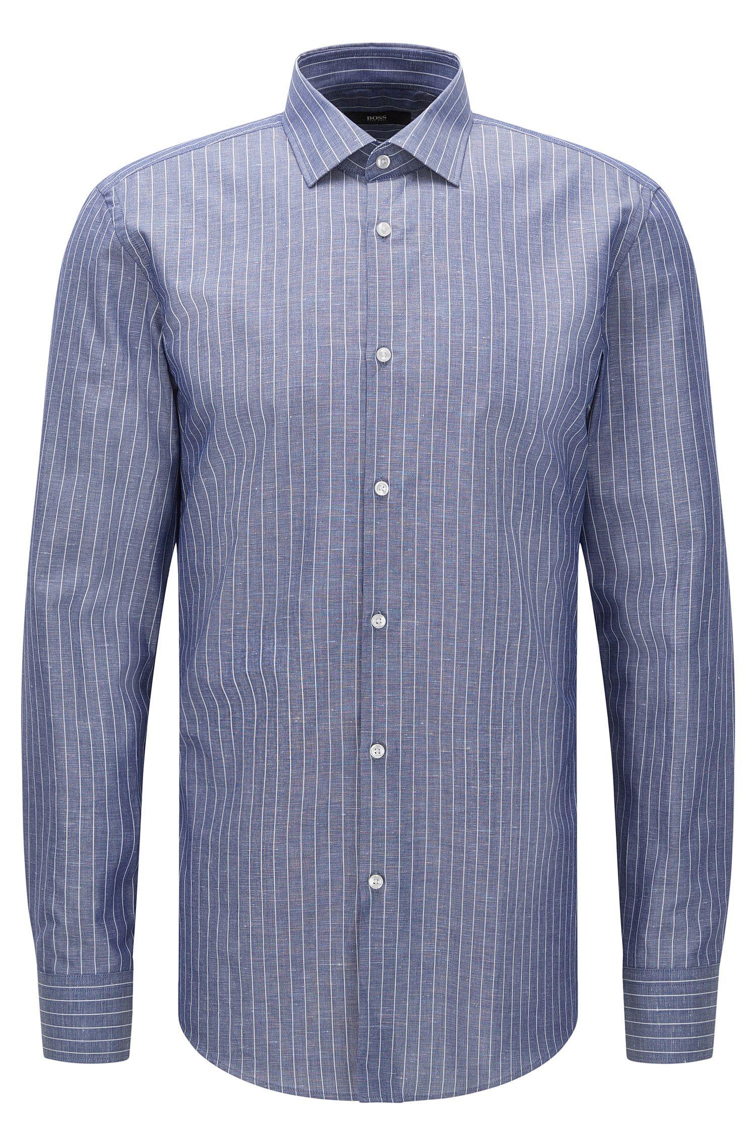 Pinstripe Italian Cotton Linen Dress Shirt, Slim Fit | Jenno