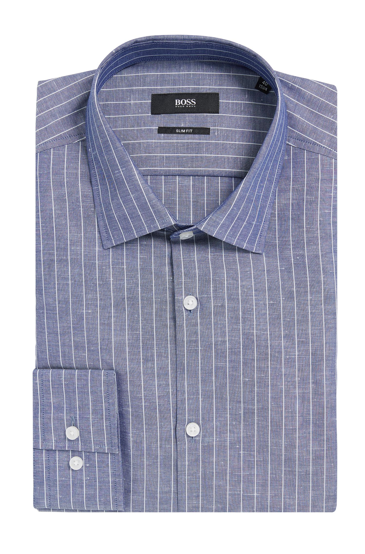 Pinstripe Italian Cotton Linen Dress Shirt, Slim Fit | Jenno