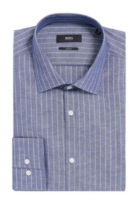 Pinstripe Italian Cotton Linen Dress Shirt, Slim Fit | Jenno, Dark Blue