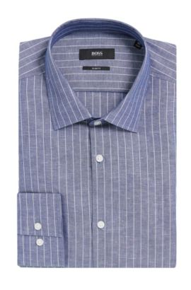Pinstripe Italian Cotton Linen Dress Shirt, Slim Fit | Jenno  , Dark Blue