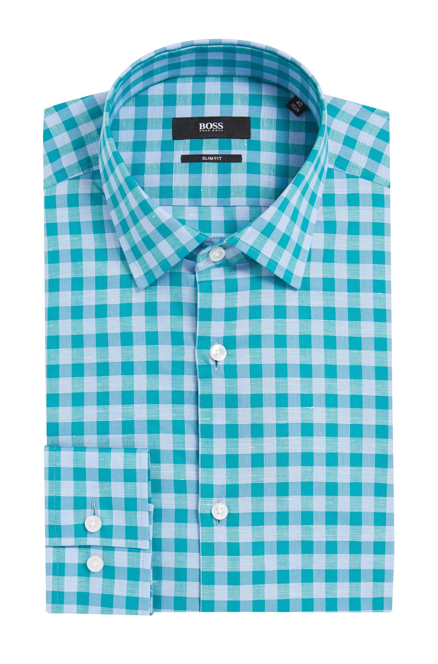 Gingham Italian Cotton Linen Dress Shirt, Slim Fit | Jenno