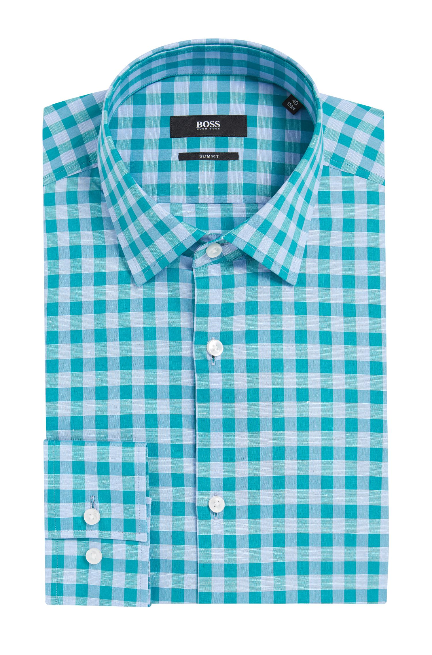 Gingham Italian Cotton Linen Dress Shirt, Slim Fit | Jenno