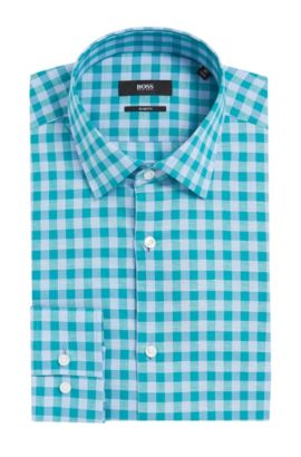 Gingham Italian Cotton Linen Dress Shirt, Slim Fit | Jenno  , Open Green