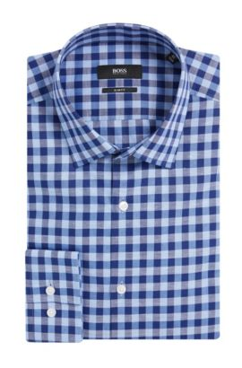 Gingham Italian Cotton Linen Dress Shirt, Slim Fit | Jenno  , Dark Blue
